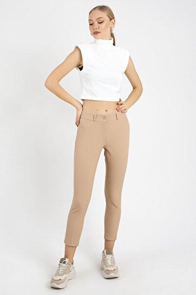 ZİNDİ Kadın Kahverengi Düğmeli Kumaş Pantolonu