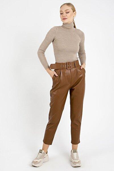 ZİNDİ Kadın Taba Renk Kemer Detaylı  Deri Pantolon