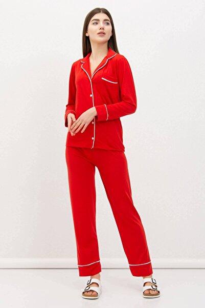 Mossta Kadın Kırmızı Önden Düğmeli Basic Pijama Takımı