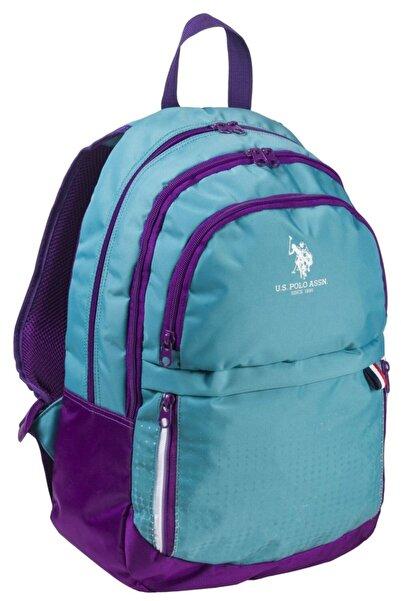 U.S. Polo Assn. Turkuaz Renk Mor Işlemeli Okul Sırt Çantası 8293