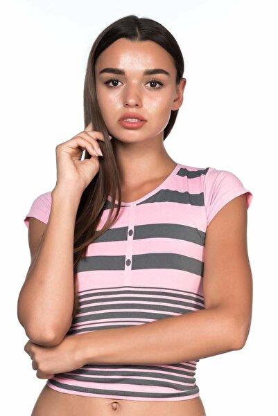 Emay Kadın Pembe Çizgili Dikişsiz T-shirt