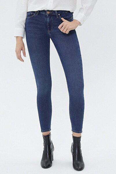 Loft Kadın Mavi Orta Bel Skinny Fit Jeans