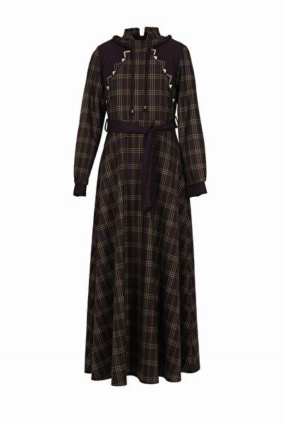 soydan exclusive Kadın Bordo Uzun Kollu İşlemeli Ekose Elbise