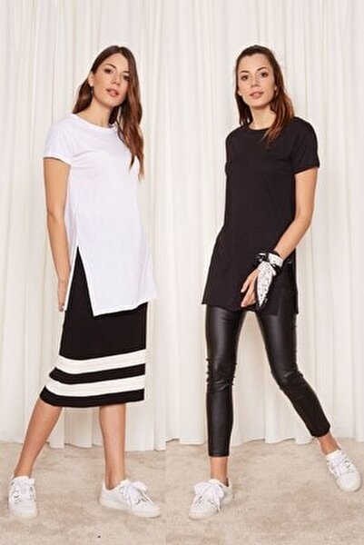 Kadın Siyah - Beyaz 2'li Paket Bisiklet Yaka Kısa Kol T-shirt
