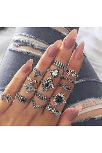 Özel Oyma Motifli Taşlı Çoklu Yüzük Seti Silver Gümüş Renk