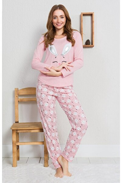 Ars Kadın Pudra Renk Desenli Uzun Kol Pijama Takımı