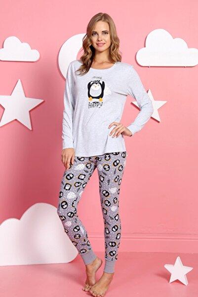 Ars Kadın Gri Renk Desenli Uzun Kol Pijama Takımı
