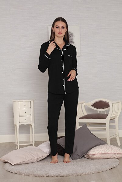 FREZYA Siyah Biyeli Önden Düğmeli Ribana Örgü Penye Kışlık Kadın Pijama Takımı