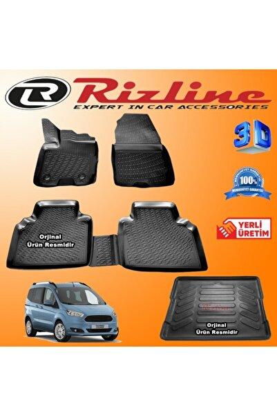 Rizline Ford Courier 3d Paspas + 3d Bagaj Havuzu 2014 - 2020 Arası Siyah Set