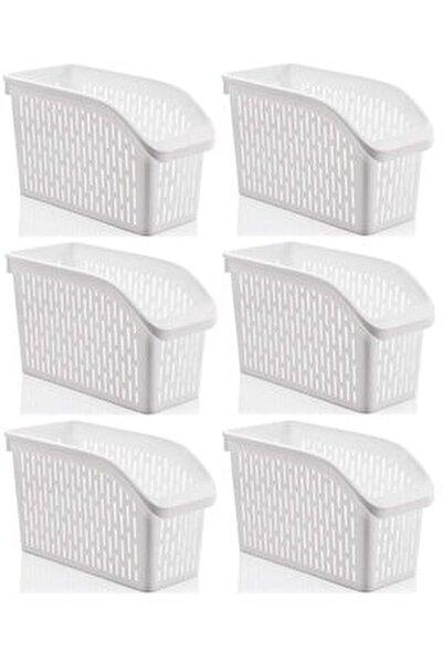 Buzdolabı Sepeti Dolap Içi Düzenleyici Sepet Organizer Beyaz 6 Adet 30x17x16