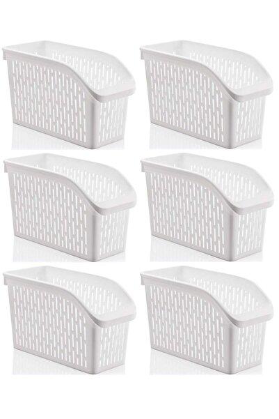 Sas Buzdolabı Sepeti Dolap Içi Düzenleyici Sepet Organizer Beyaz 6 Adet 30x17x16