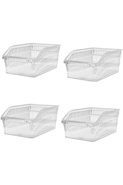 Fevito Buzdolabı Sepeti Dolap Içi Düzenleyici Sepet Organizer 4 Adet Şeffaf Büyük Boy 30x20x13 Cm