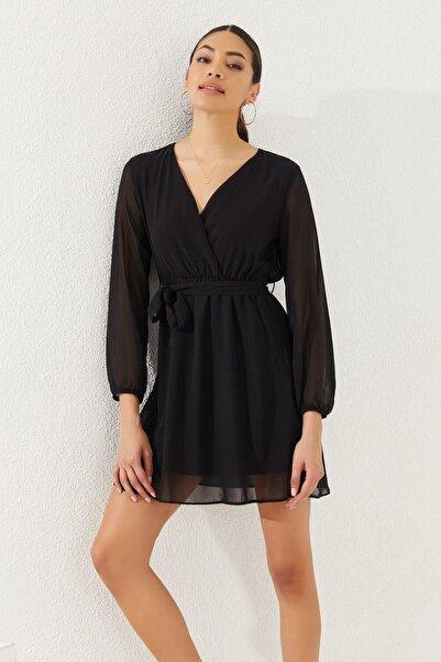 Reyon Kadın Siyah Kruvaze Yaka Bel Kuşaklı Elbise