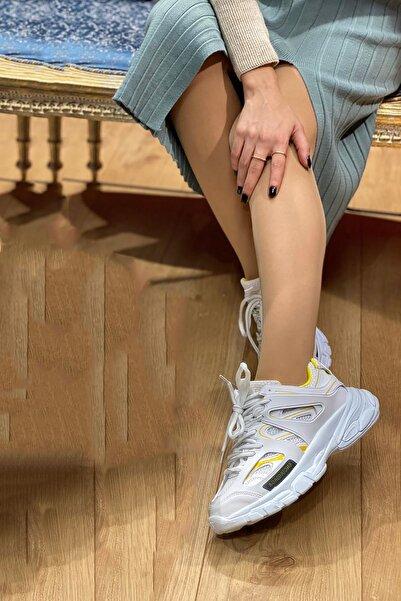 NOVELYA Beyaz Sarı Çizgili Track Yüksek Taban Unisex Sneakers Ayakkabı