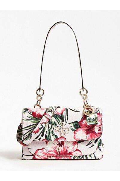 Guess Kadın Beyaz Çiçekli Chıc Shıne Omuz Çantası
