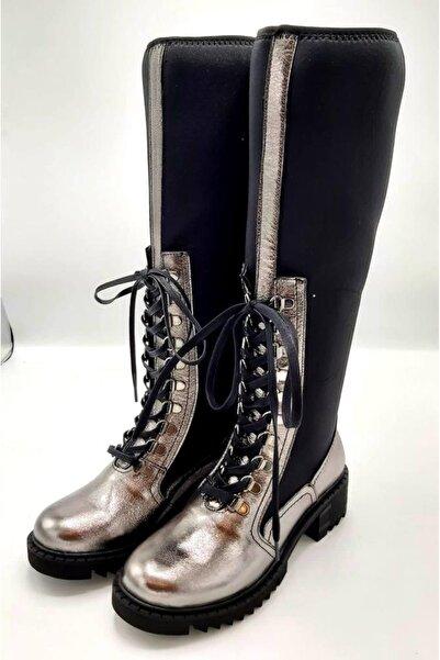CassidoShoes Kadın Gümüş Çizme