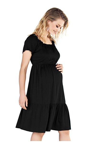 Ebru Maternity Kadın Siyah Hamile Elbisesi 4224