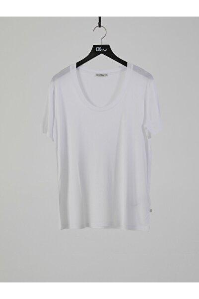 Ltb Kadın  Beyaz Kısa Kol U Yaka T-Shirt 012218000261450000