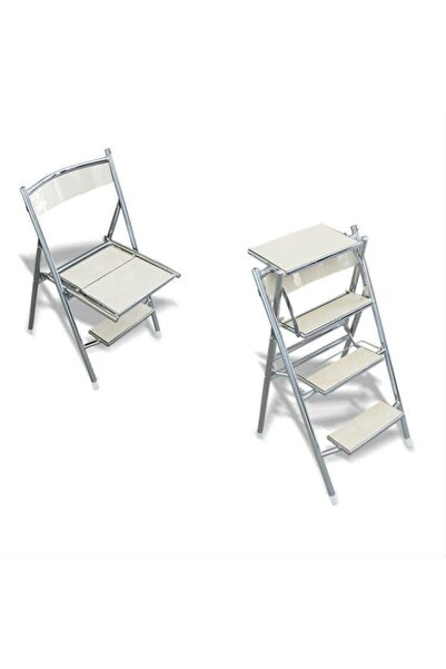 Evistro Katlanır Sandalye Merdiven 4 Basamaklı Beyaz