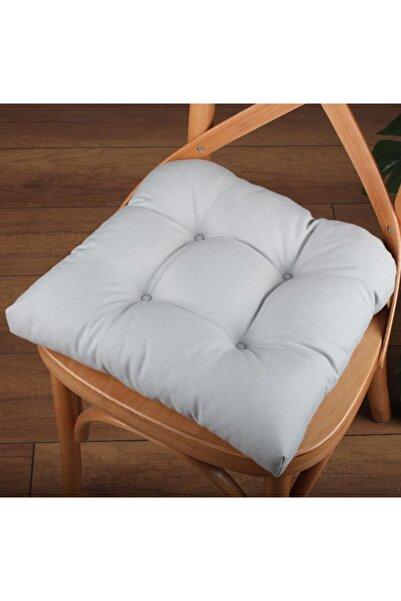 ALTINPAMUK Lüx Pofidik Gri Sandalye Minderi Özel Dikişli Bağcıklı 40x40cm