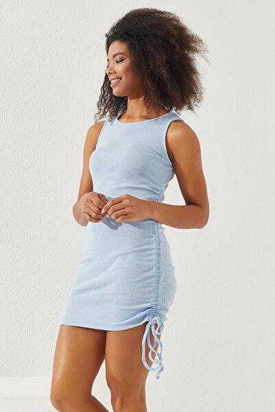 Reyon Kadın Mavi Yanları Büzgülü Sıfır Kol Elbise