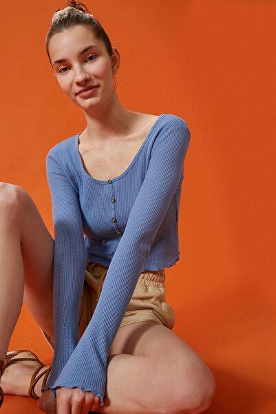 Koton Kadın Mavi T-Shirt 1Yal18090Ik