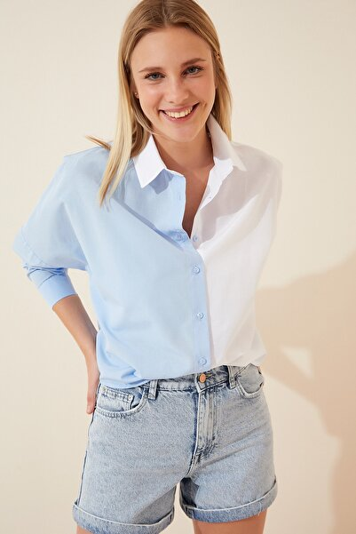 Happiness İst. Kadın Mavi Blok Renkli Kısa Poplin Gömlek DD00876