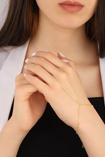 Lia Berto Kadın Altın Kaplama Küp Zincir 925 Ayar Gümüş Şahmeran