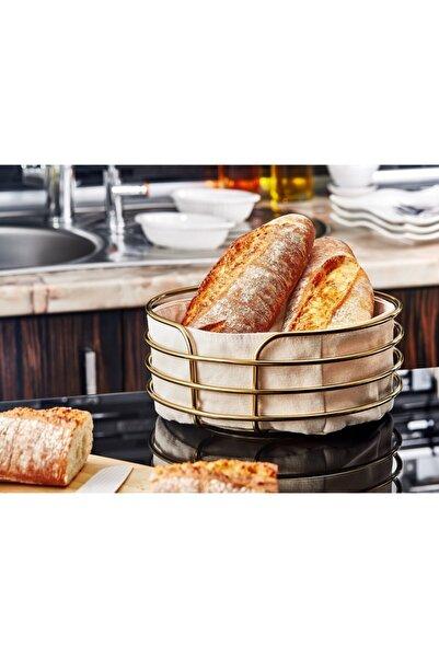 Arrita Home Metal Şeritli Kumaş Yuvarlak Ekmeklik-krem