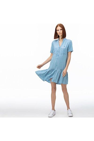 Lacoste Kadın V Yaka Denim Mavi Elbise EF0015T