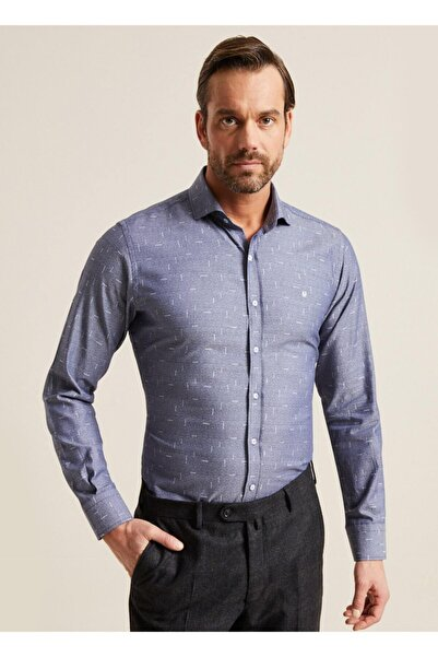 Bisse Erkek Lacivert Regular Fit Desenli Italyan Yaka Gömlek