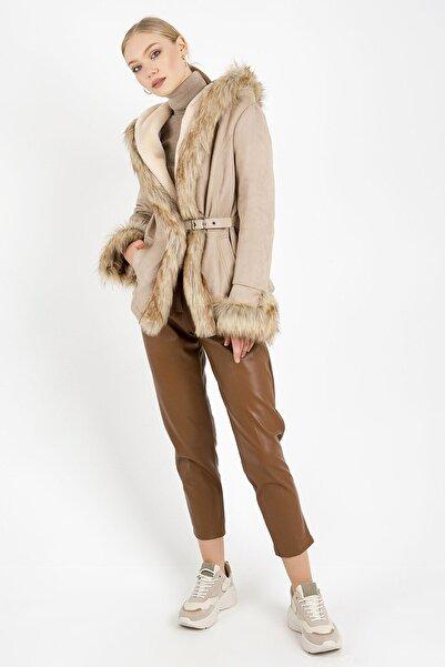 ZİNDİ Kadın Bej Kürklü Ceket Bej