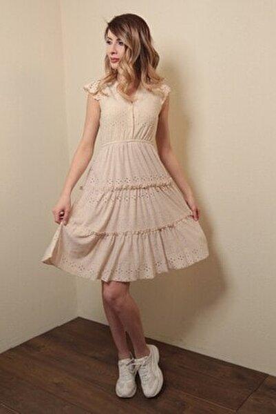 Kadın Astarlı Sıfır Kol Mini Elbise Bej