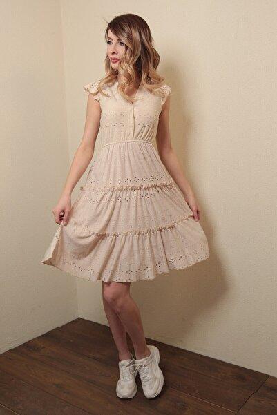 Reyon Kadın Astarlı Sıfır Kol Mini Elbise Bej
