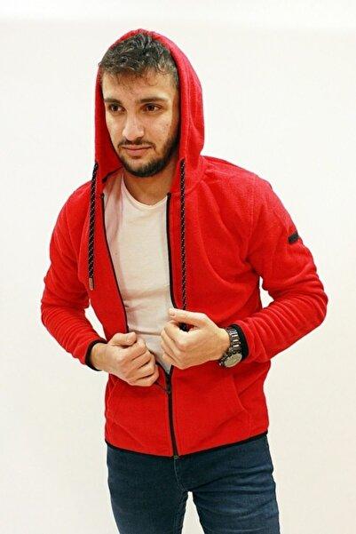 Cazador Erkek Kırmızı Kapüşonlu Düz Renk Polar