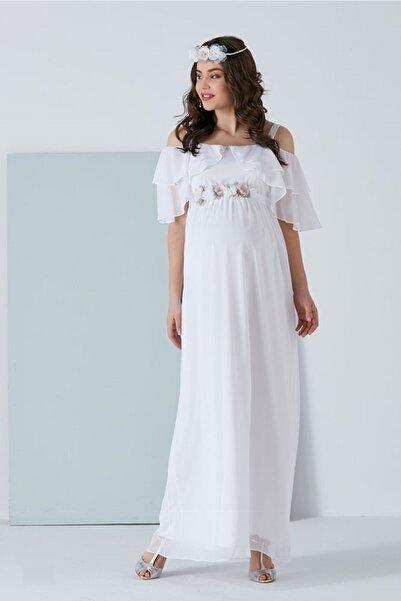 Entarim Kadın Beyaz Hamile Baby Shower Maxi Elbise 6021düz-8