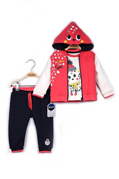 Miniworld Kız Bebek Pembe Yelek Sweatshirt Pantolon 3'lü Takım 9-24 Ay 14798