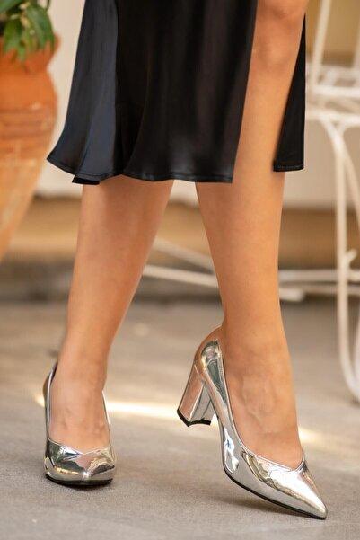 Mio Gusto Keira Gümüş Topuklu Ayakkabı