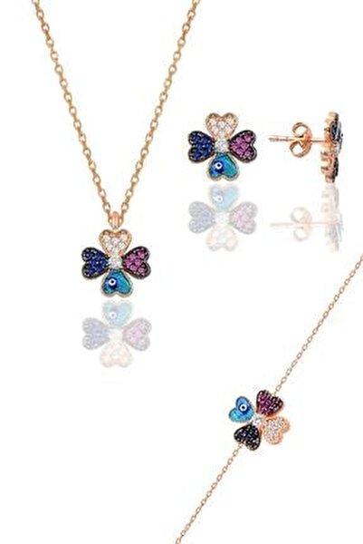 Gümüş rose mineli yonca modeli üçlü set