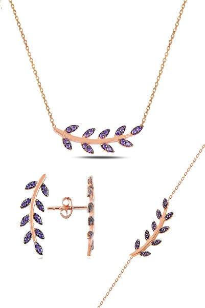 Söğütlü Silver Gümüş rose mor taşlı yaprak üçlü set