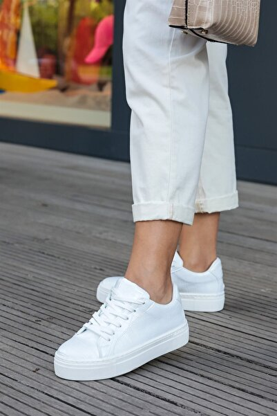 Mio Gusto Cameron Beyaz Krokodil Sneaker