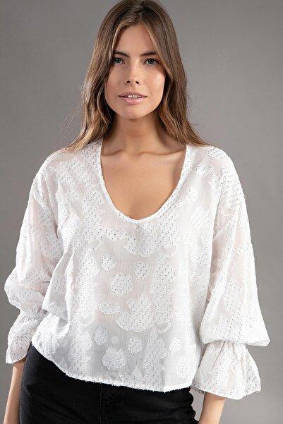 Y-London Kadın Beyaz U Yaka Simli Transparan Kısa Bluz 30845