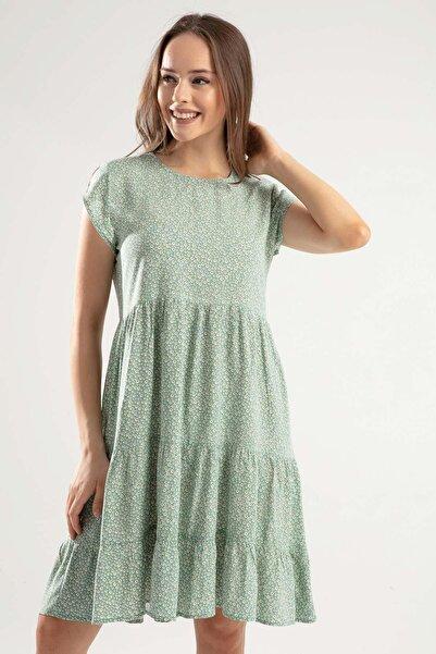 Y-London Kadın Mint Yeşili Çiçek Desenli Robalı Kısa Kollu Elbise Y20S110-1979