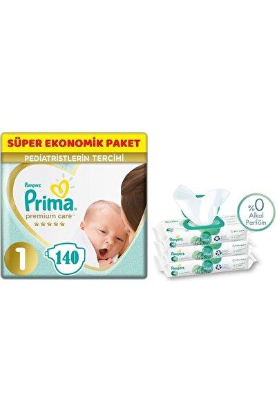 Prima Premium Care Bebek Bezi Beden:1 (2-5kg) Yeni Doğan 140 Adet + 3 Lü Mendil Süper Ekonomik Pk