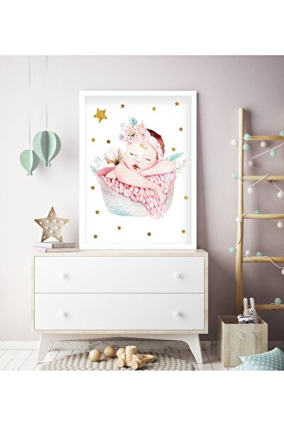 tablosetleri 1 Adet Büyük Boy Çerçeveli Bebek- Çocuk Odası Tablo 33 x 45cm