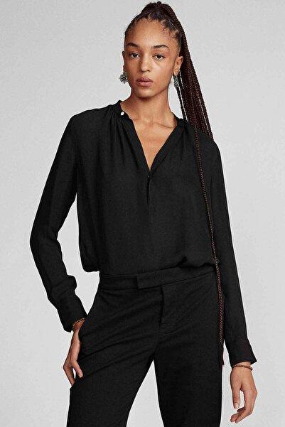Polo Ralph Lauren Kadın Siyah V Yaka Ipek Gömlek