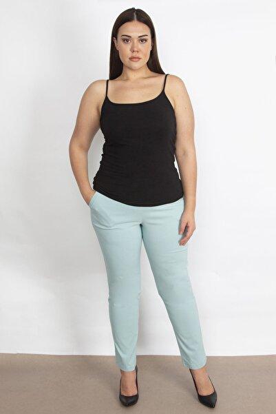 Şans Kadın Turkuaz Likralı Bengalin Kumaş Bel Kısmı Lastik Detaylı Cepli Pantolon 65N18450