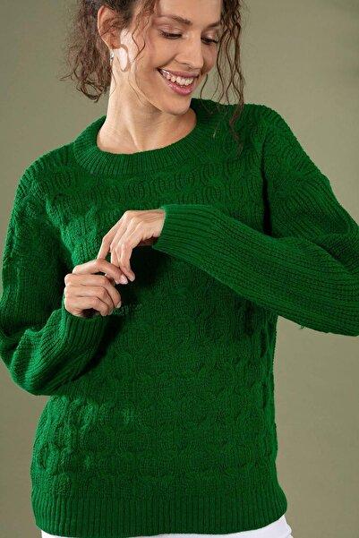 Y-London Kadın Yeşil Yuvarlak Yaka Uzun Kol Triko Kazak 5999 Y19W143-5999