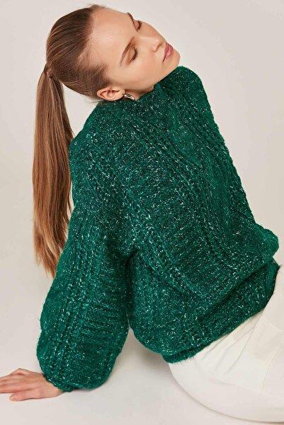 Y-London Kadın Koyu Yeşil Saç Örgü Detaylı Uzun Kol Triko Kazak 3962 Y19W143-3962