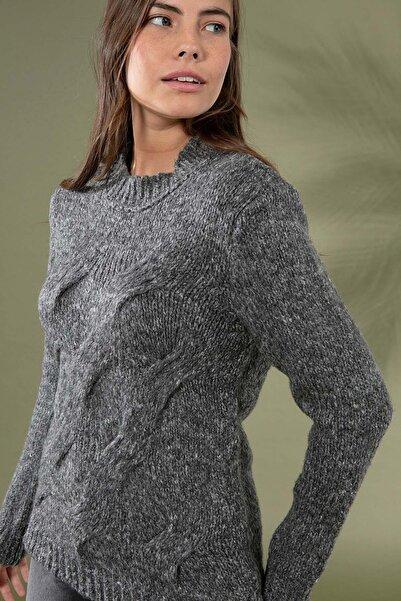 Y-London Kadın Gri Örgü Desen Uzun Kol Triko Kazak 3955 Y19W143-3955-1